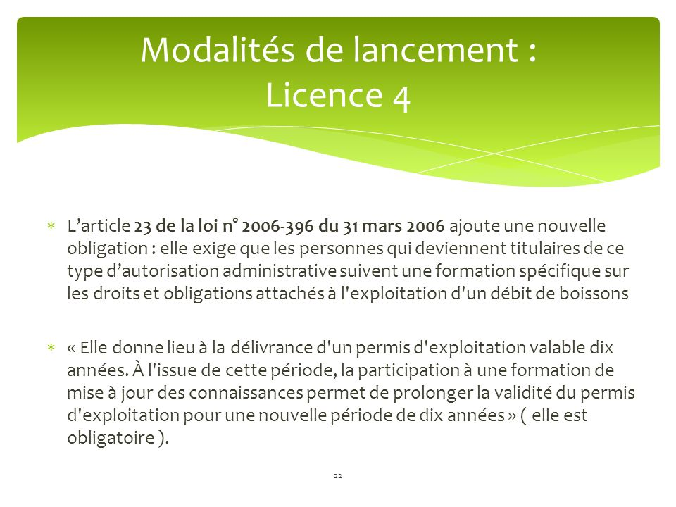Modalités de lancement : Licence 4