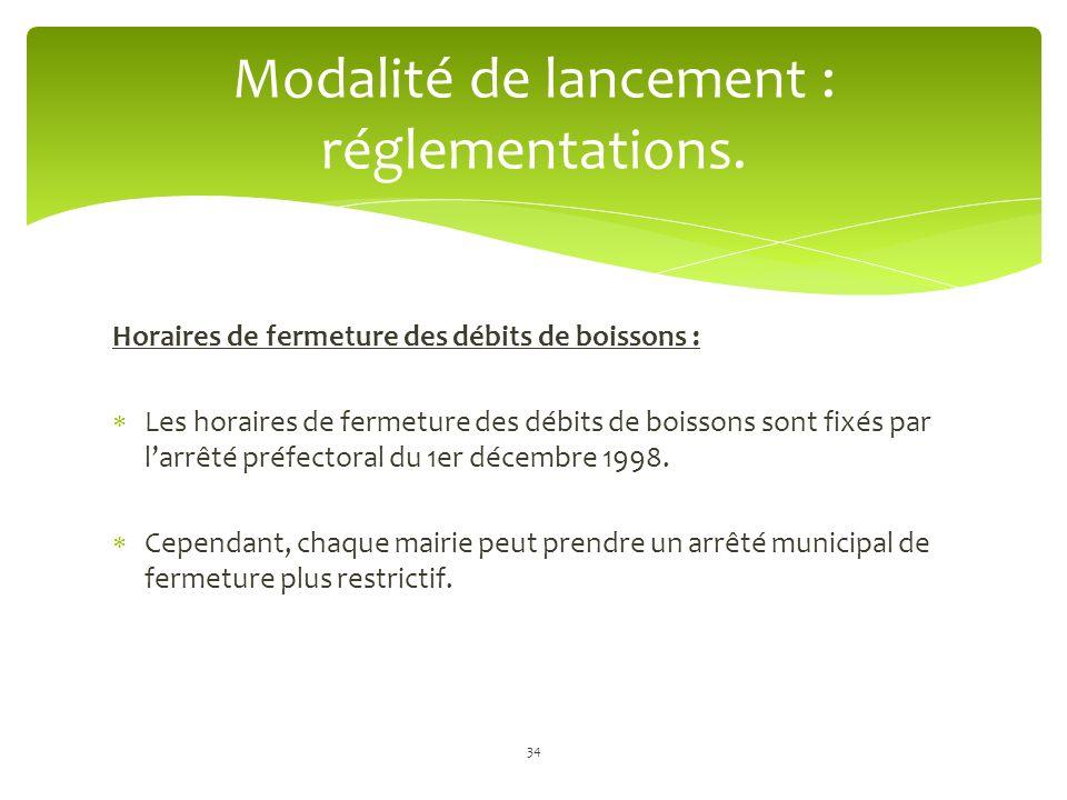 Modalité de lancement : réglementations.