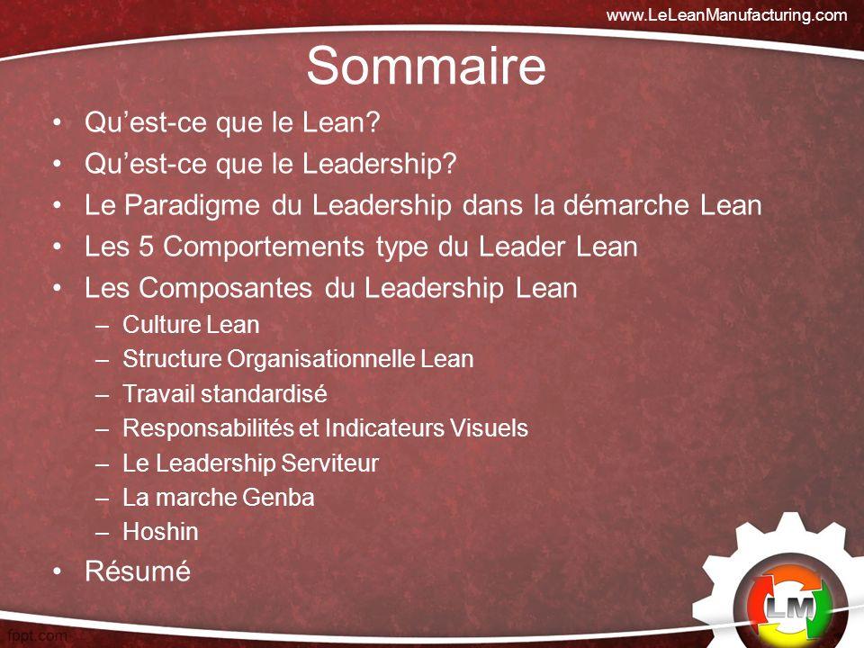 Sommaire Qu'est-ce que le Lean Qu'est-ce que le Leadership