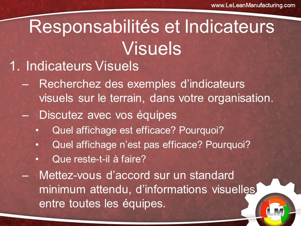 Responsabilités et Indicateurs Visuels