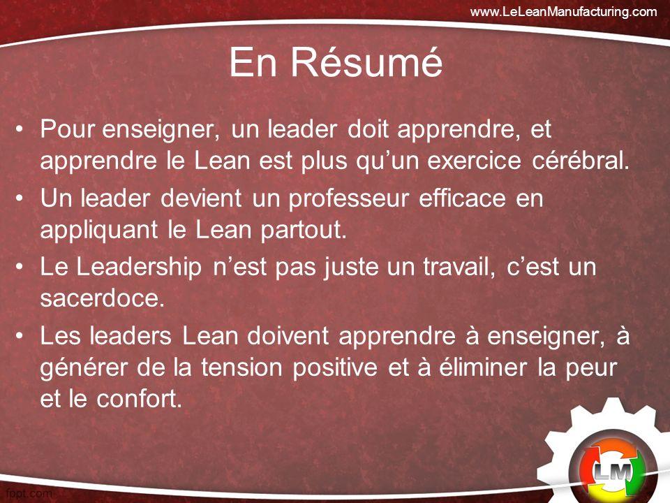 www.LeLeanManufacturing.com En Résumé. Pour enseigner, un leader doit apprendre, et apprendre le Lean est plus qu'un exercice cérébral.
