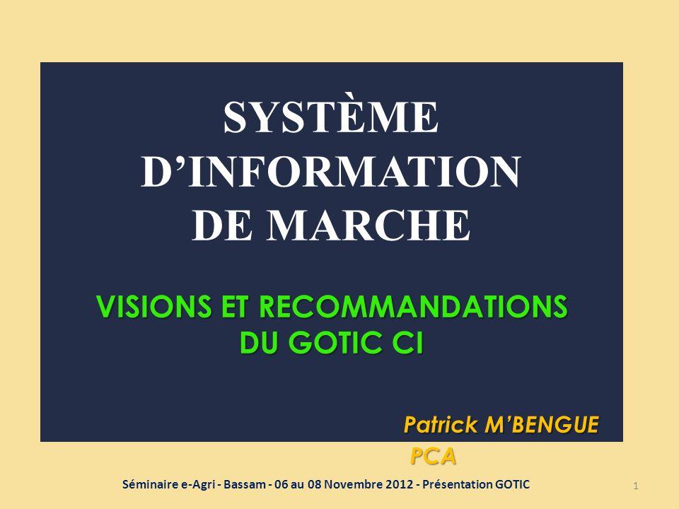 Système D'information de marche Visions et recommandations du gotic ci
