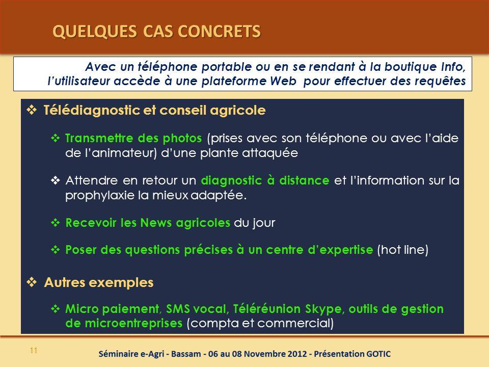 QUELQUES CAS CONCRETS Télédiagnostic et conseil agricole