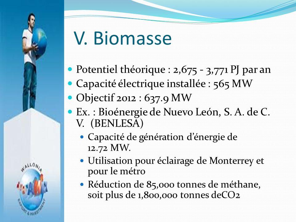 V. Biomasse Potentiel théorique : 2,675 - 3,771 PJ par an