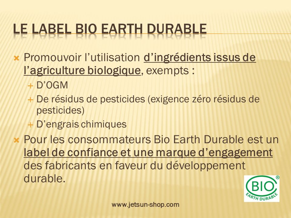Le label bio earth durable