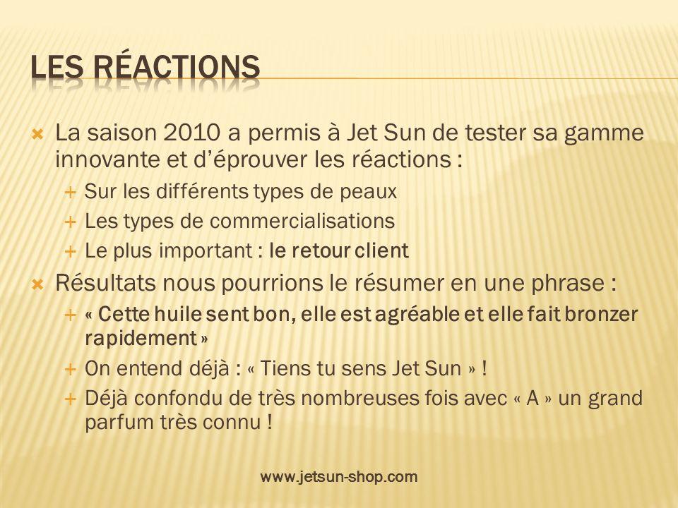 Les réactions La saison 2010 a permis à Jet Sun de tester sa gamme innovante et d'éprouver les réactions :