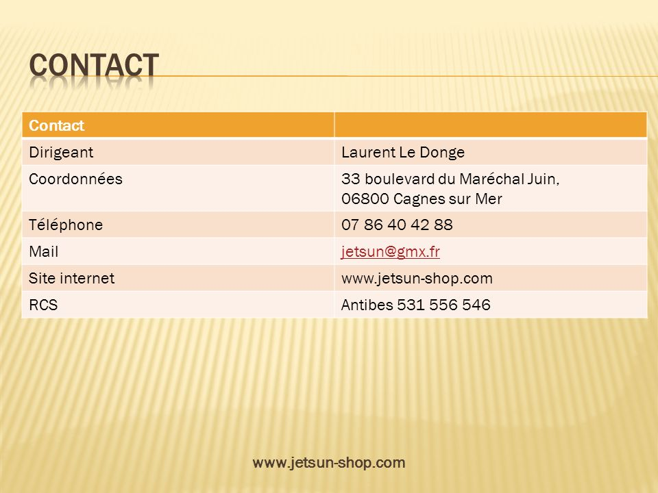 contact Contact Dirigeant Laurent Le Donge Coordonnées