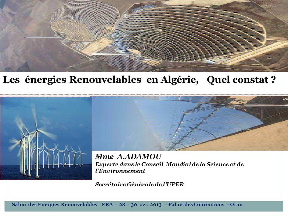 Les énergies Renouvelables en Algérie, Quel constat