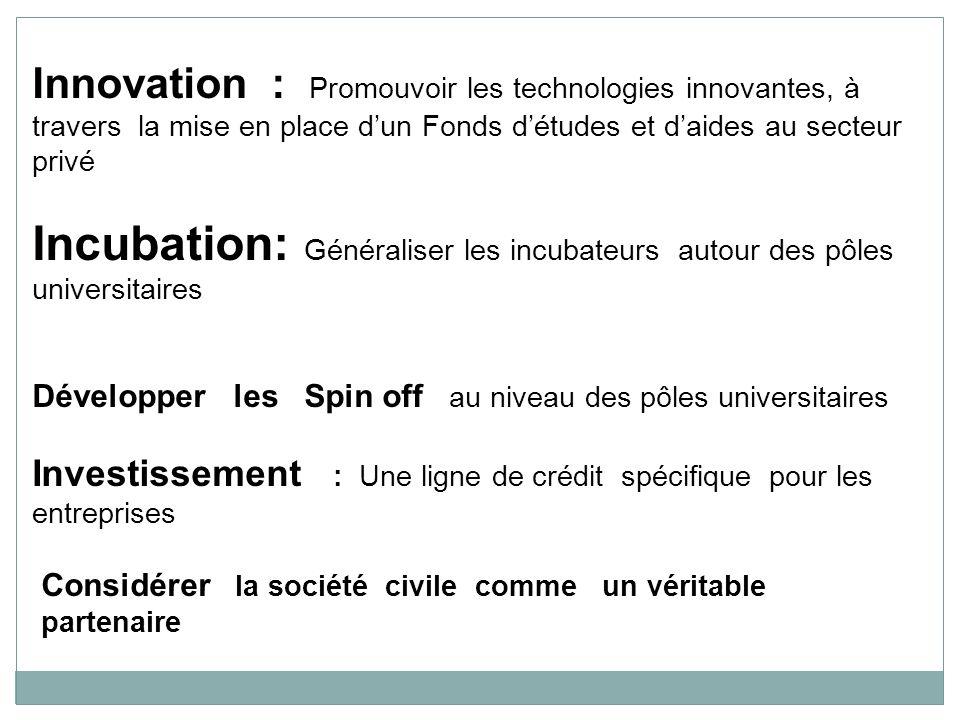 Innovation : Promouvoir les technologies innovantes, à travers la mise en place d'un Fonds d'études et d'aides au secteur privé