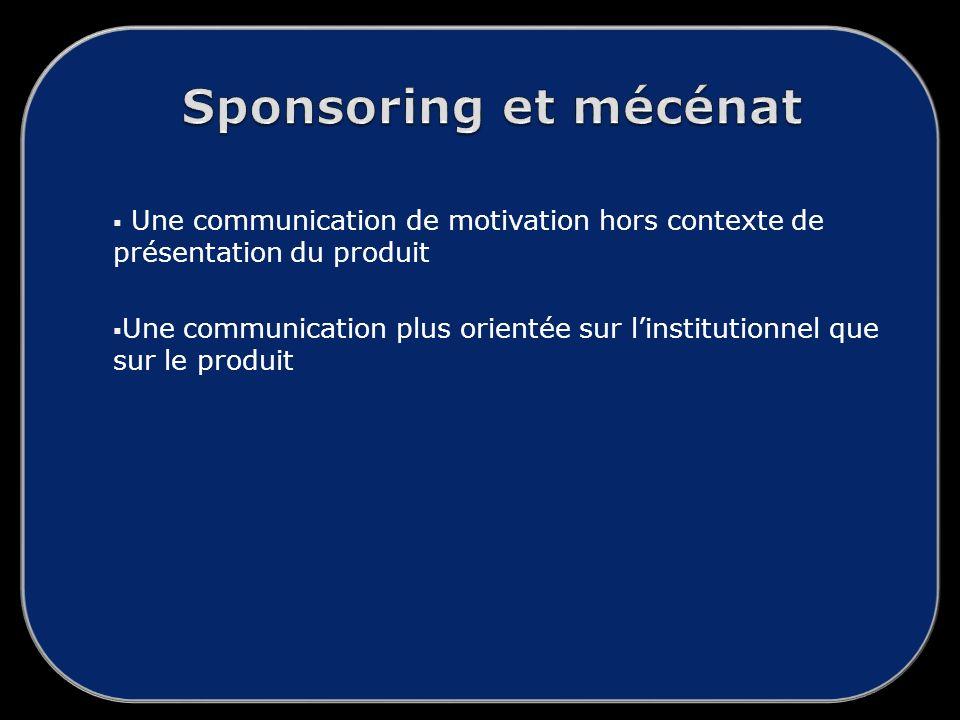Sponsoring et mécénat Une communication de motivation hors contexte de présentation du produit.
