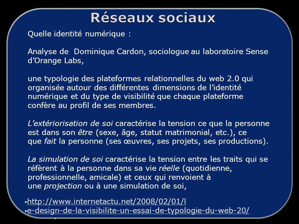Réseaux sociaux Quelle identité numérique :