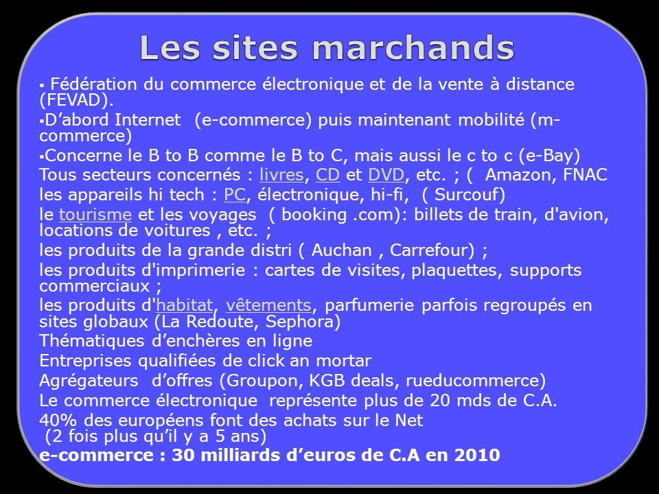 Les sites marchands Fédération du commerce électronique et de la vente à distance (FEVAD).