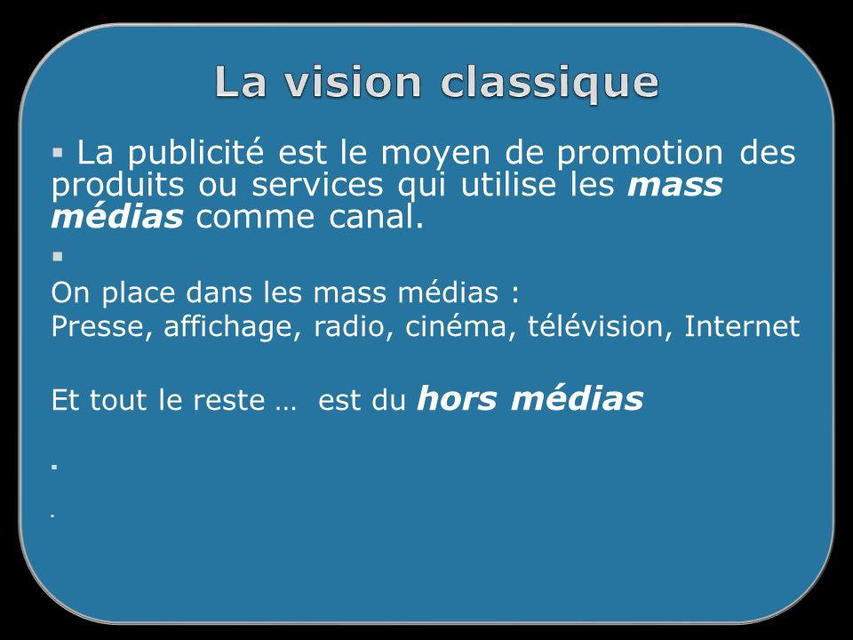 La vision classique La publicité est le moyen de promotion des produits ou services qui utilise les mass médias comme canal.