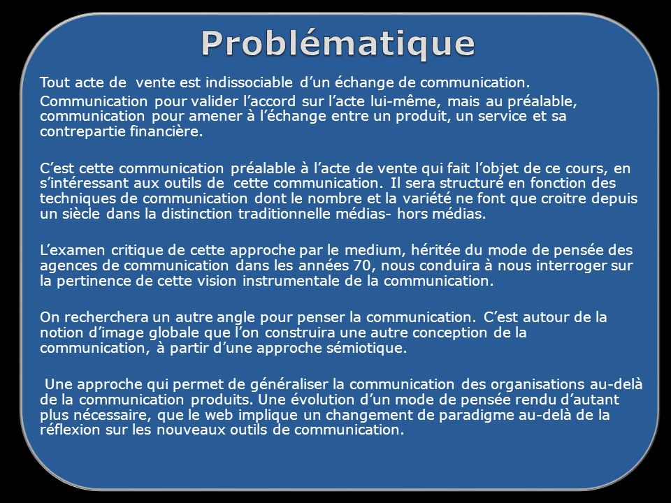 Problématique Tout acte de vente est indissociable d'un échange de communication.
