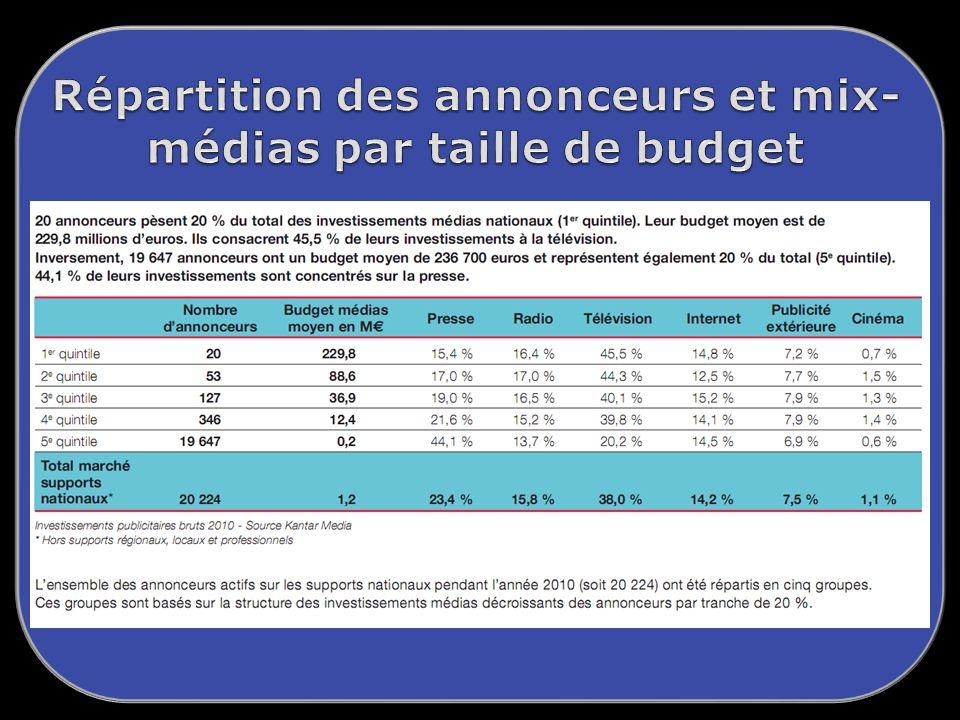 Répartition des annonceurs et mix-médias par taille de budget