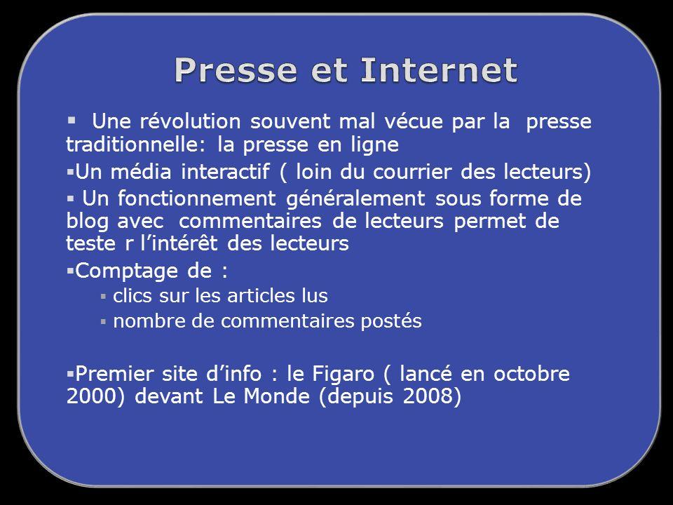 Presse et Internet Une révolution souvent mal vécue par la presse traditionnelle: la presse en ligne.
