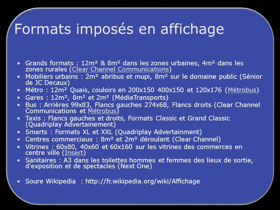 Formats imposés en affichage