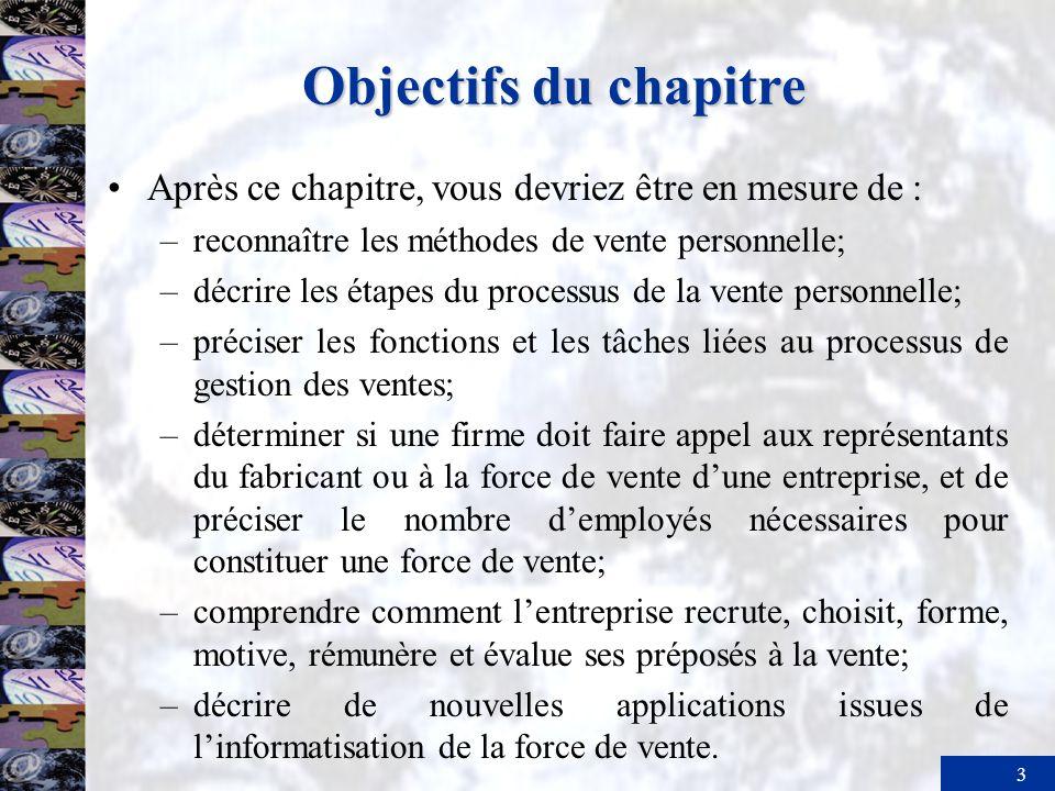 Objectifs du chapitre Après ce chapitre, vous devriez être en mesure de : reconnaître les méthodes de vente personnelle;