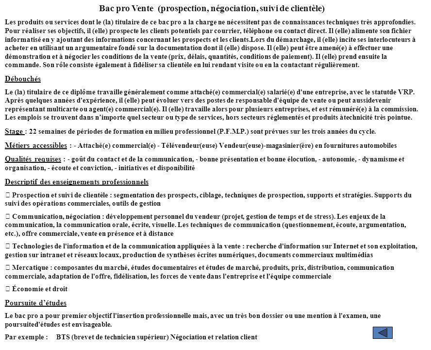 Bac pro Vente (prospection, négociation, suivi de clientèle)