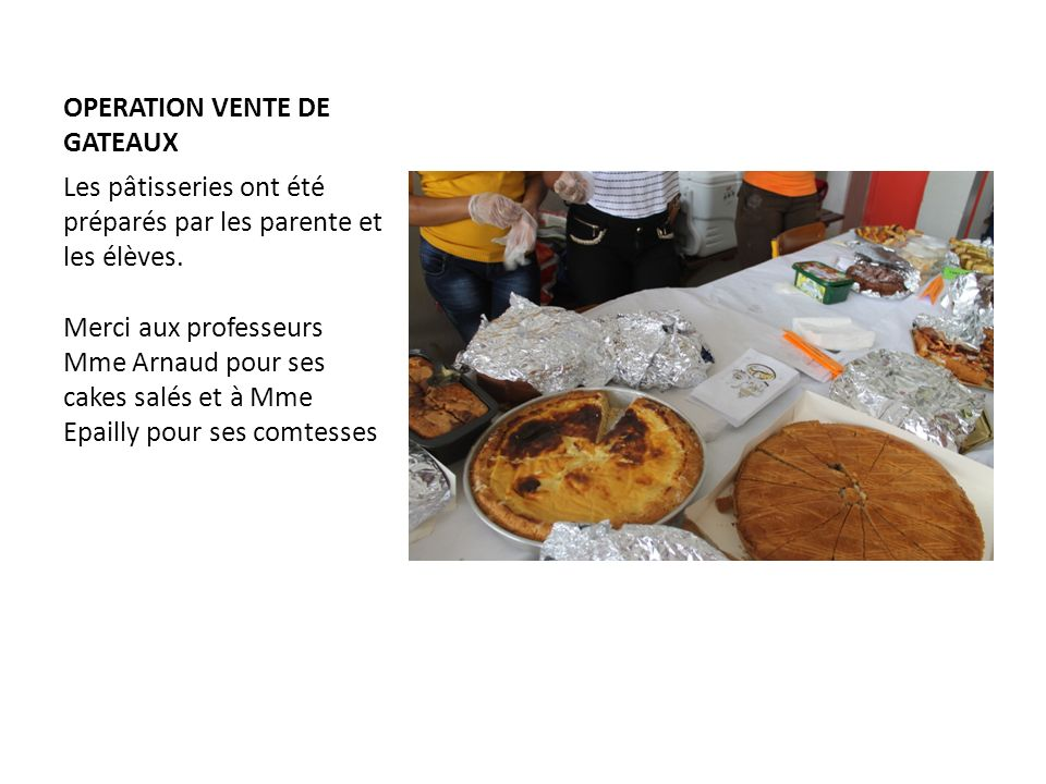 OPERATION VENTE DE GATEAUX