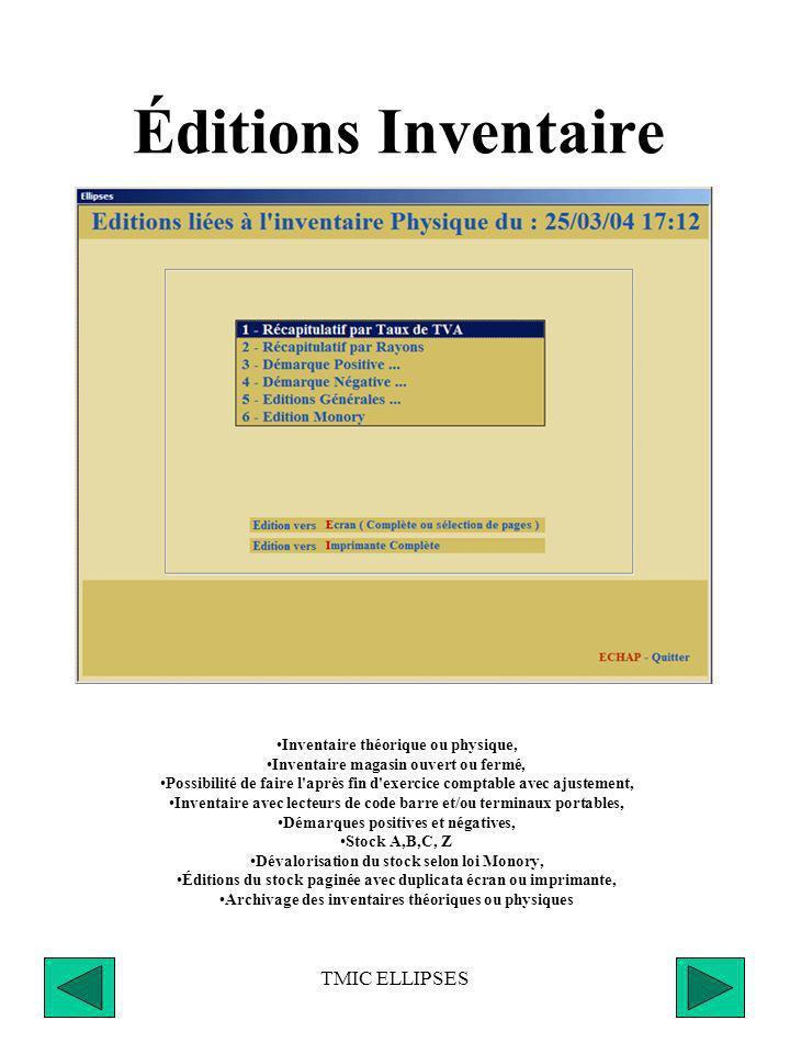 Éditions Inventaire TMIC ELLIPSES Inventaire théorique ou physique,