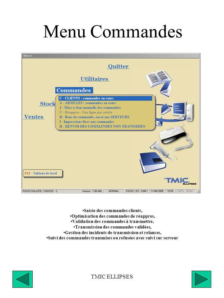 Menu Commandes TMIC ELLIPSES Saisie des commandes clients,