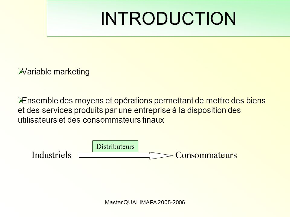 INTRODUCTION Industriels Consommateurs Variable marketing