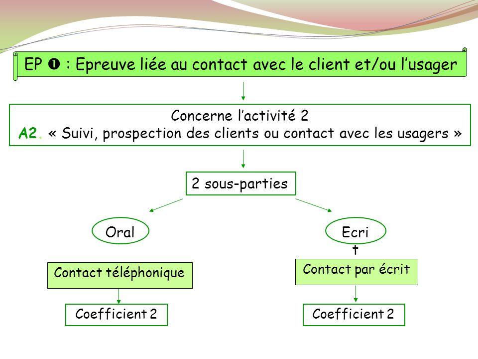 EP  : Epreuve liée au contact avec le client et/ou l'usager