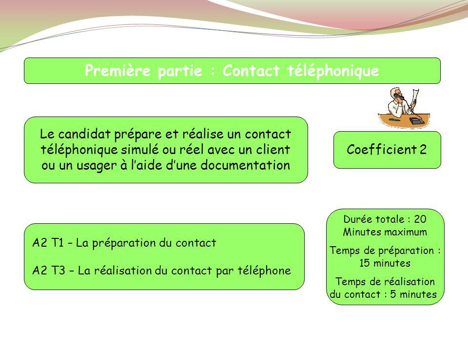 Première partie : Contact téléphonique