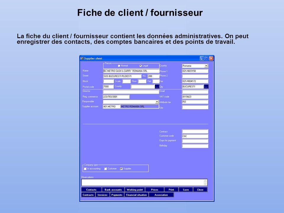 Fiche de client / fournisseur