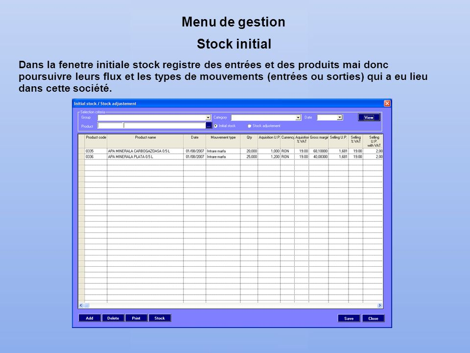 Menu de gestion Stock initial
