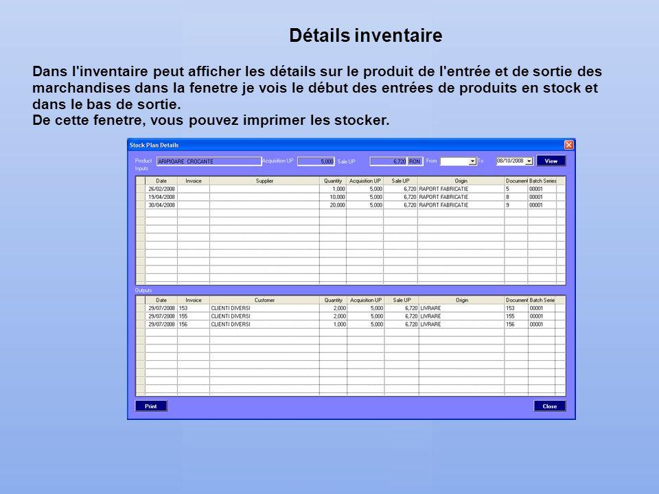 Détails inventaire