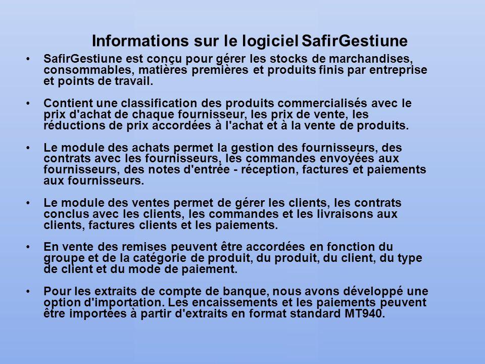 Informations sur le logiciel SafirGestiune