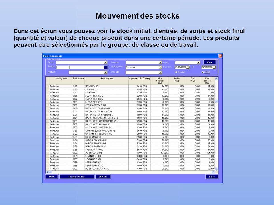 Mouvement des stocks