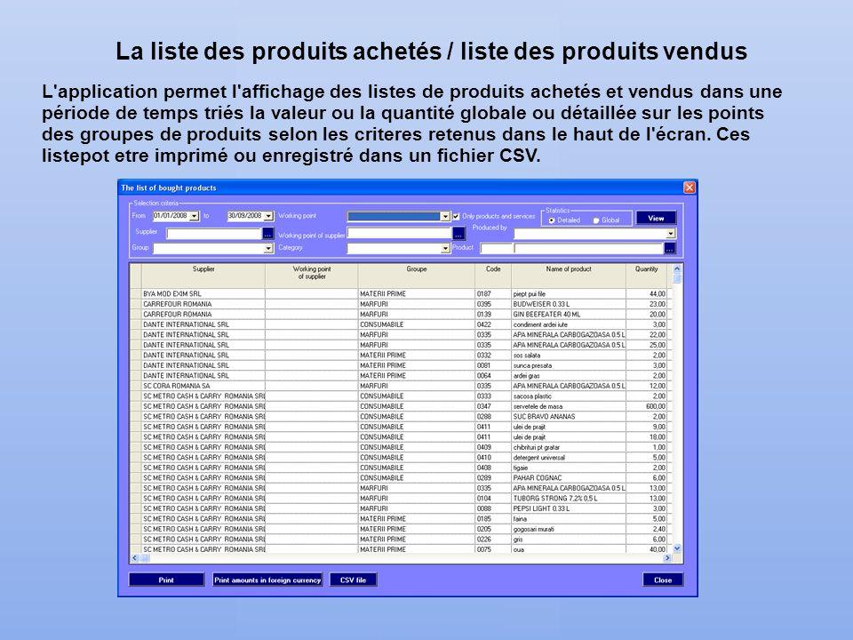 La liste des produits achetés / liste des produits vendus