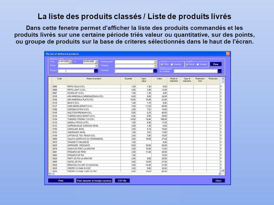 La liste des produits classés / Liste de produits livrés