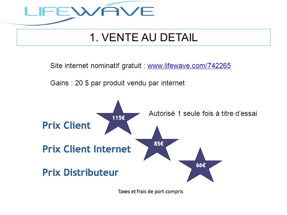 1. VENTE AU DETAIL Site internet nominatif gratuit : www.lifewave.com/742265. Gains : 20 $ par produit vendu par internet.