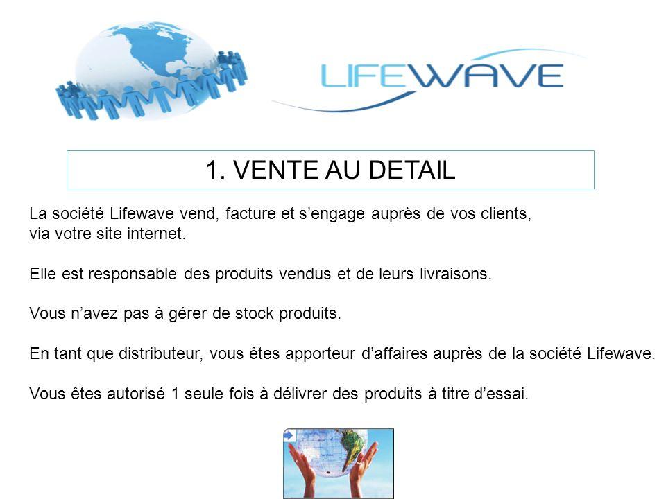 1. VENTE AU DETAIL La société Lifewave vend, facture et s'engage auprès de vos clients, via votre site internet.