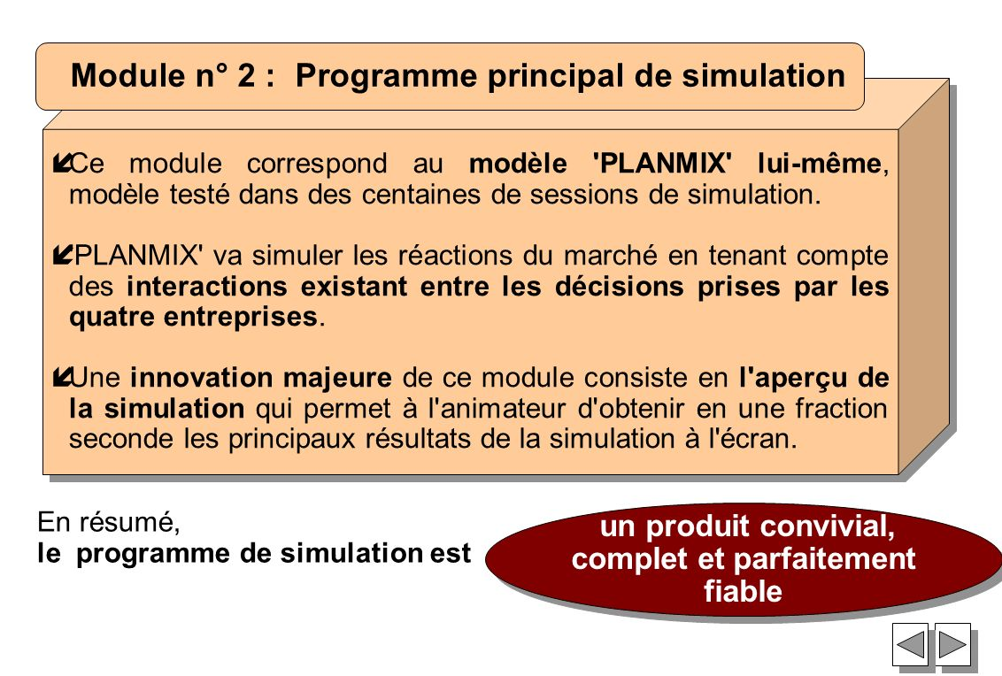 Module n° 2 : Programme principal de simulation