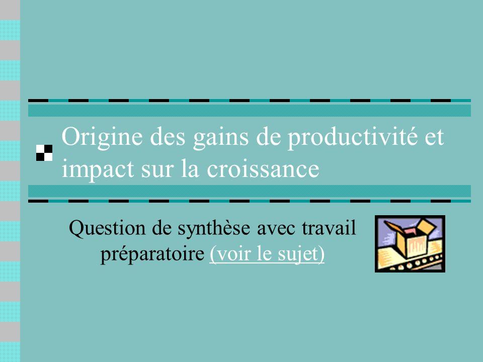 Origine des gains de productivité et impact sur la croissance