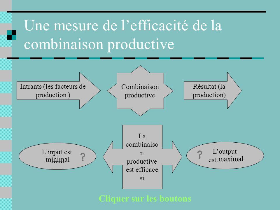 Une mesure de l'efficacité de la combinaison productive