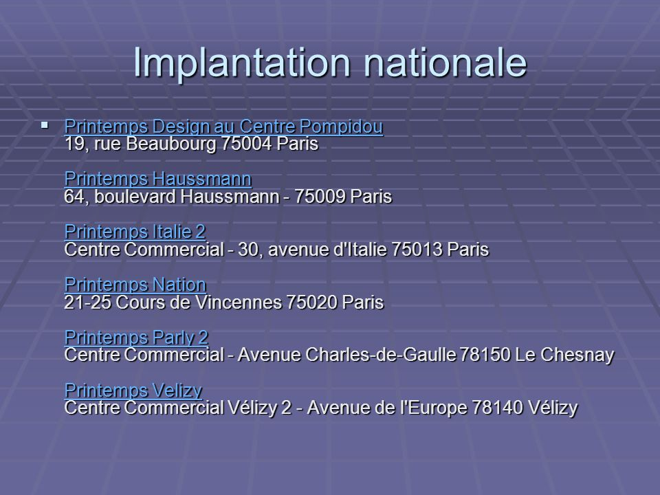 Implantation nationale