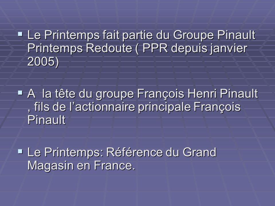 Le Printemps fait partie du Groupe Pinault Printemps Redoute ( PPR depuis janvier 2005)