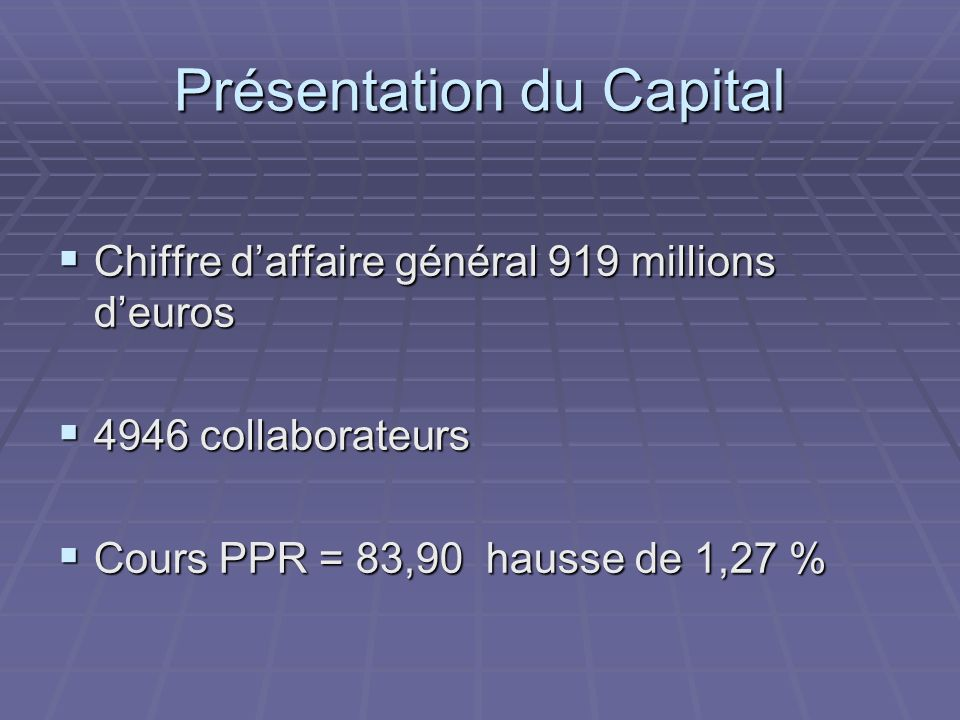 Présentation du Capital