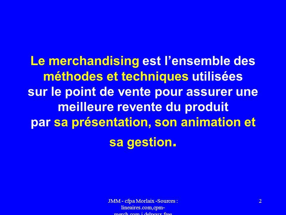 Le merchandising est l'ensemble des méthodes et techniques utilisées sur le point de vente pour assurer une meilleure revente du produit par sa présentation, son animation et sa gestion.