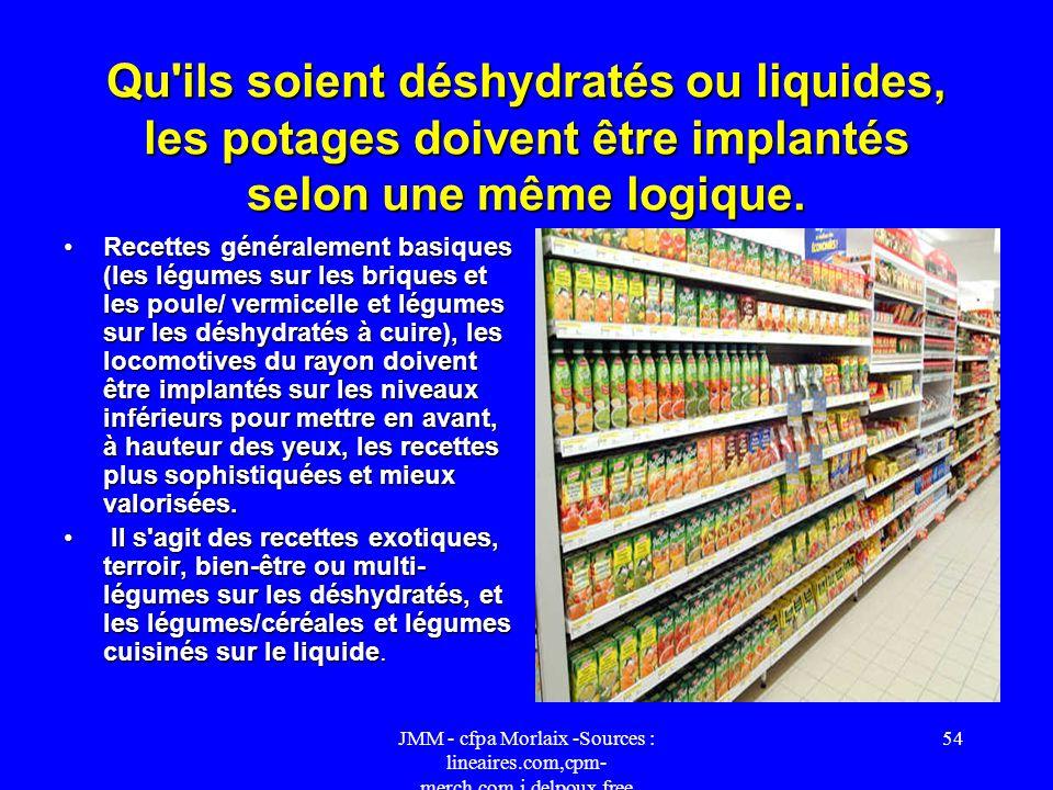 Qu ils soient déshydratés ou liquides, les potages doivent être implantés selon une même logique.