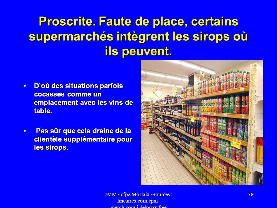 Proscrite. Faute de place, certains supermarchés intègrent les sirops où ils peuvent.