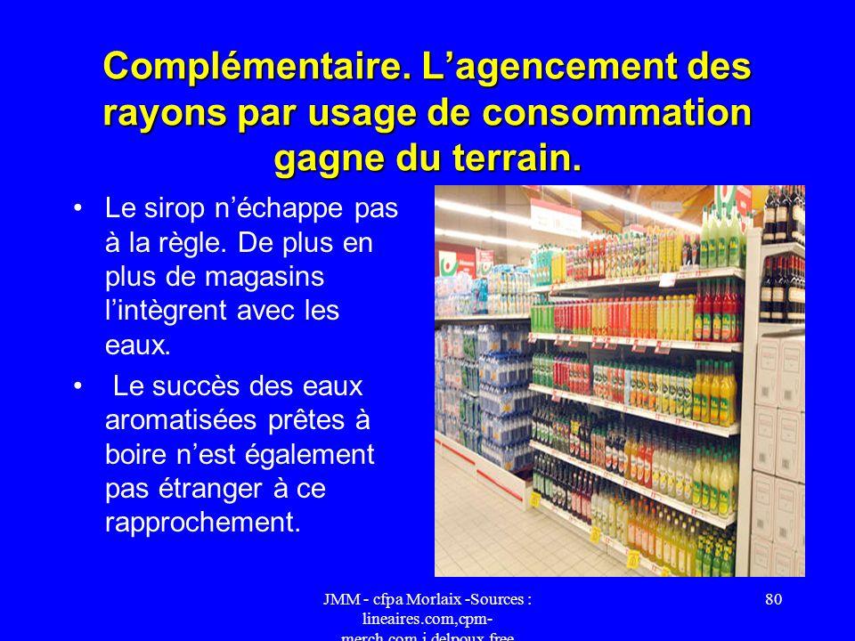 Complémentaire. L'agencement des rayons par usage de consommation gagne du terrain.