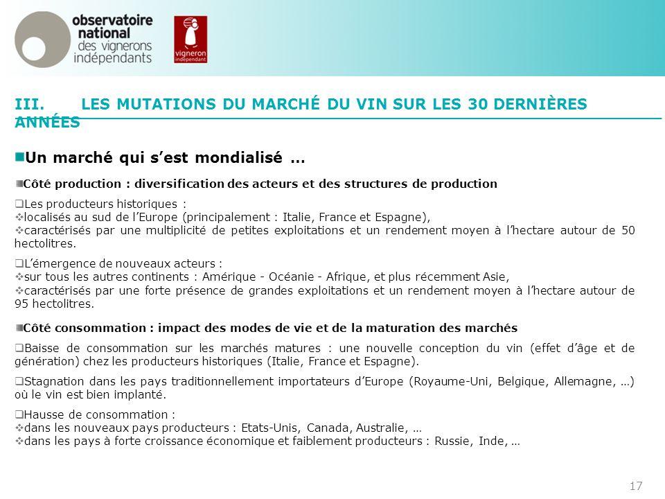 III. LES MUTATIONS DU MARCHÉ DU VIN SUR LES 30 DERNIÈRES ANNÉES
