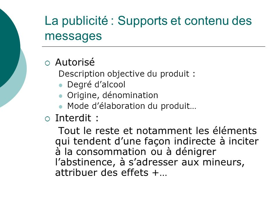 La publicité : Supports et contenu des messages